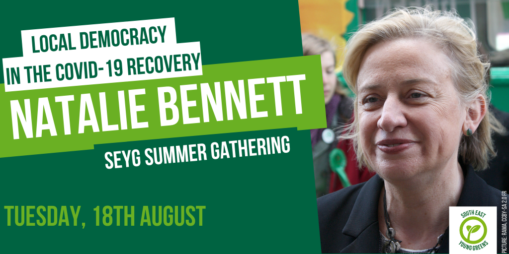 Graphic with a photo of Natalie Bennett, and text 'Local democracy in the Covid-19 recovery' on 'Tuesday 18th August'