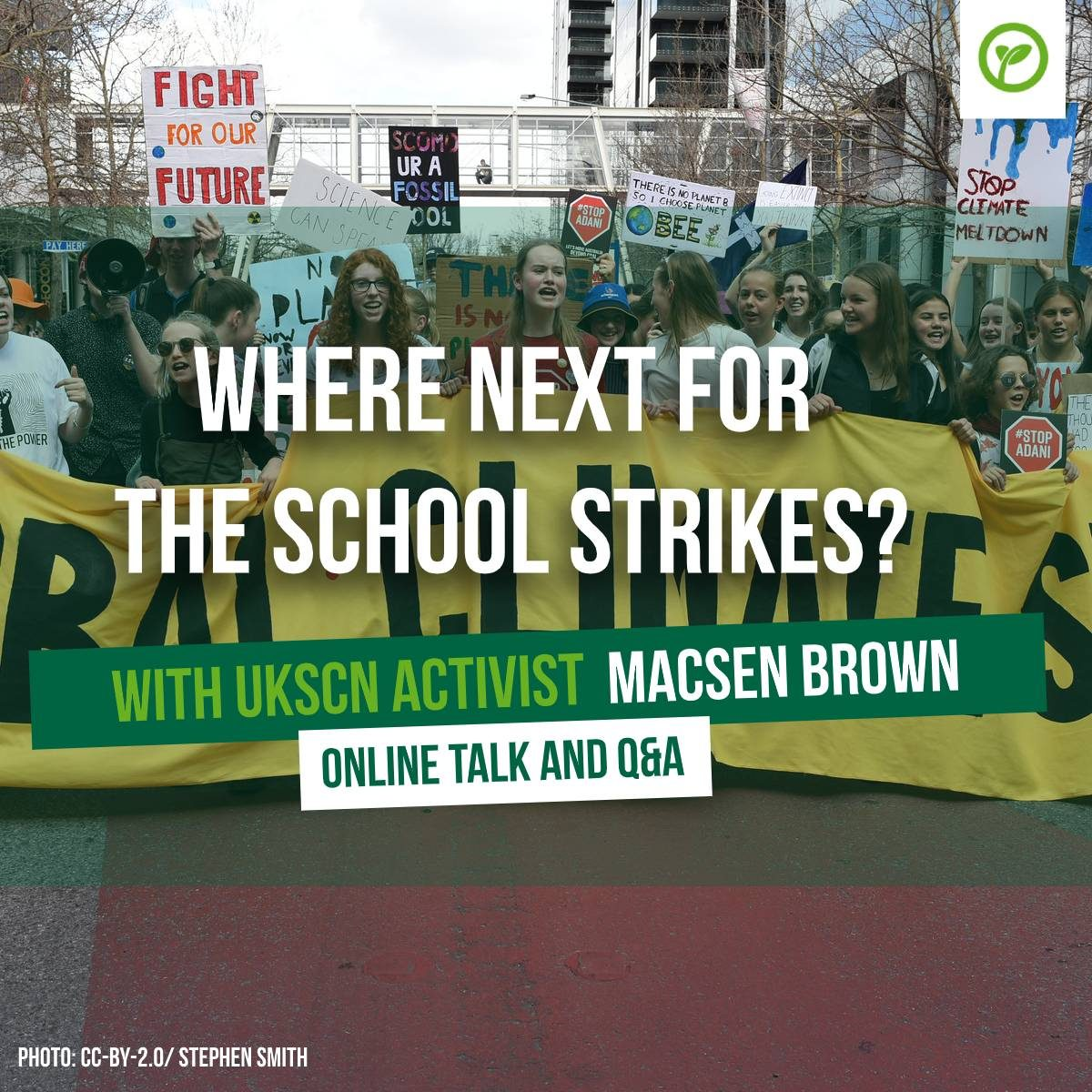 Where next for the school strikes? With UKSCN activist Macsen Brown. Online talk and Q&A. Photo: CC-BY-2.0/Stephen Smith